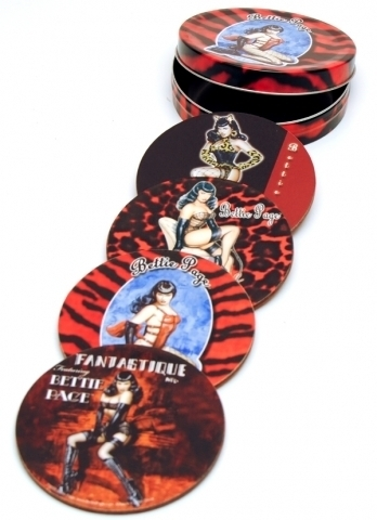 Bettie Page Coaster Set - Red